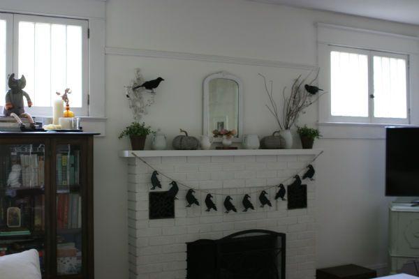 Halloween Fireplace Mantel Fall Mantel Halloween Crows