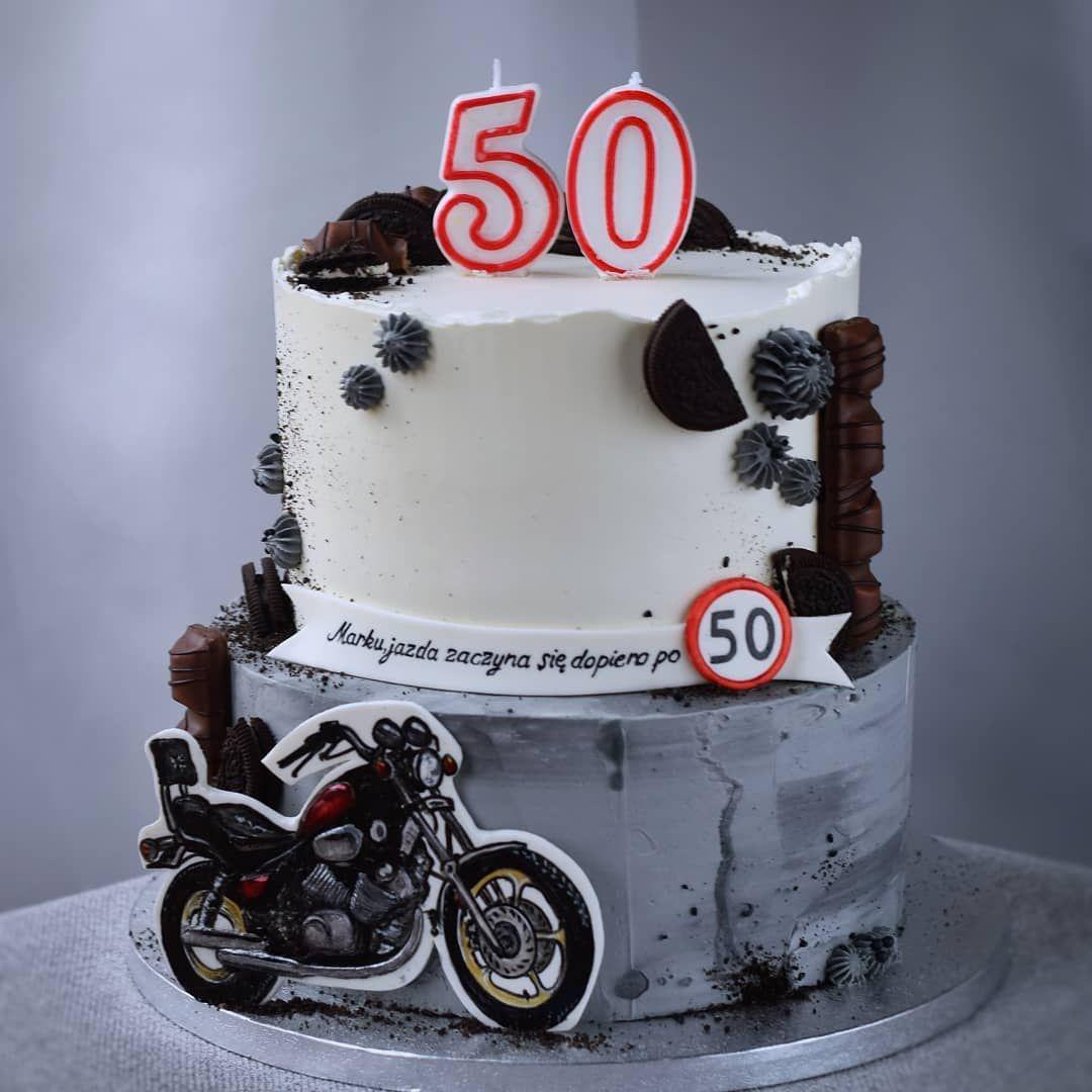 Tort Na 50 Urodziny Z Motocyklem Tort 50 Urodziny Urodziny