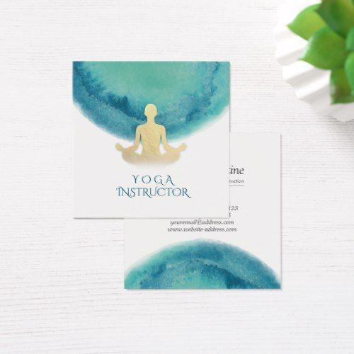 Elegant watercolor gold meditation yoga instructor square business card reheart Images
