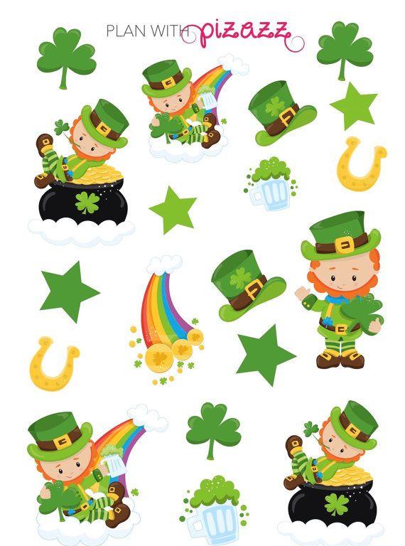 LUCKY LEPRECHAUN St Patrick\'s Day Theme Planner Sticker Sheet ...