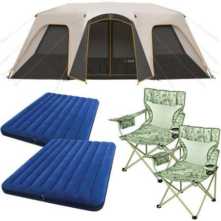 Todayu0027s sale Bushnell 12 Person Instant Cabin Tent with 2 Bonus Queen Airbeds and 2 Yellow Chairs Value Bundle deals week  sc 1 st  Pinterest & Bushnell 12 Person Instant Cabin Tent with 2 Bonus Queen Airbeds ...