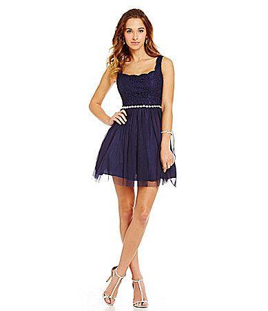 Jodi Kristopher Scalloped Neck Lace Bodice Aline Party Dress ...
