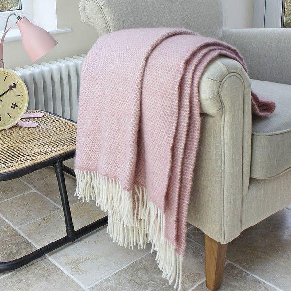 Blush Pink Throw Blanket Marquis & Dawe Blush Pink Wool Throw $83 ❤ Liked On Polyvore