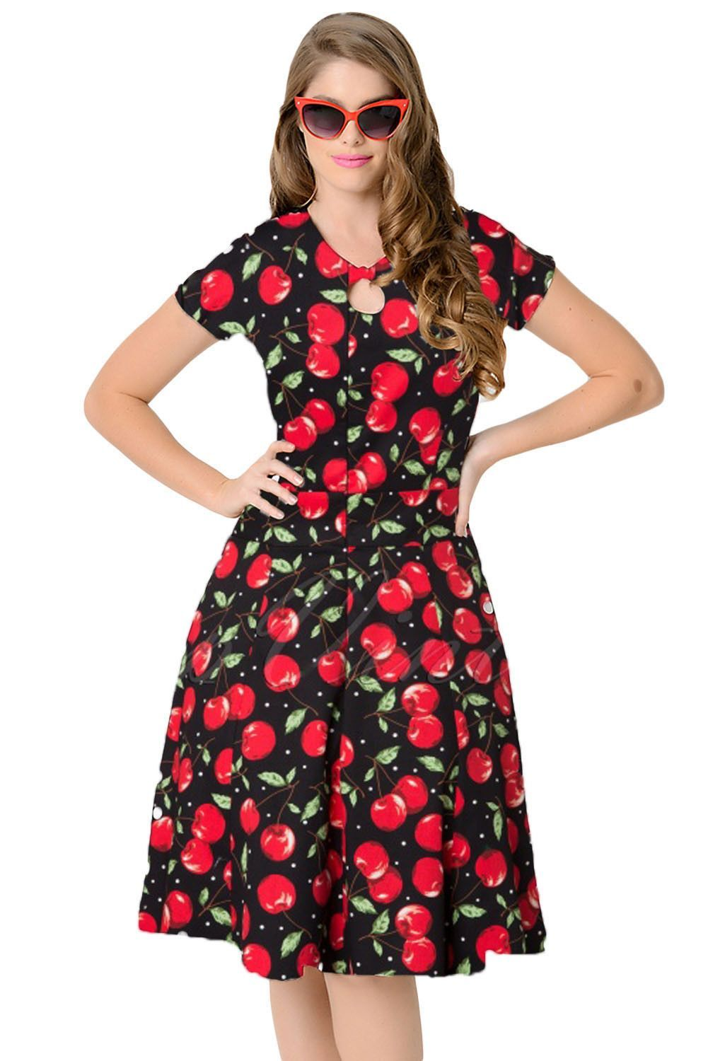 Unique vintage s style cherry short sleeves swing dress s