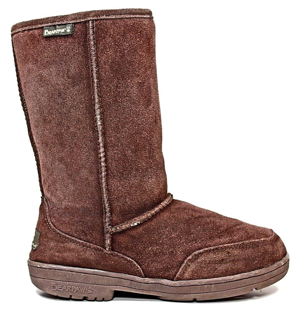 aefd97fe76be6 Bearpaw Womens Boots size 7 M Brown Suede Sheepskin Lined Winter ...