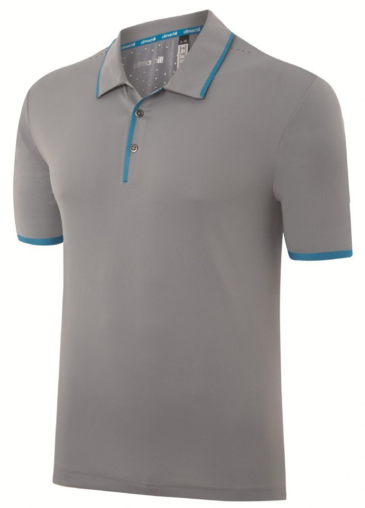 adidas Golf 2015 climachill Bonded Solid Men s Golf Polo Shirt - Mid Grey Intense Teal Features Solid climachill Fabric Stretch Bonded Cuffs Contrast