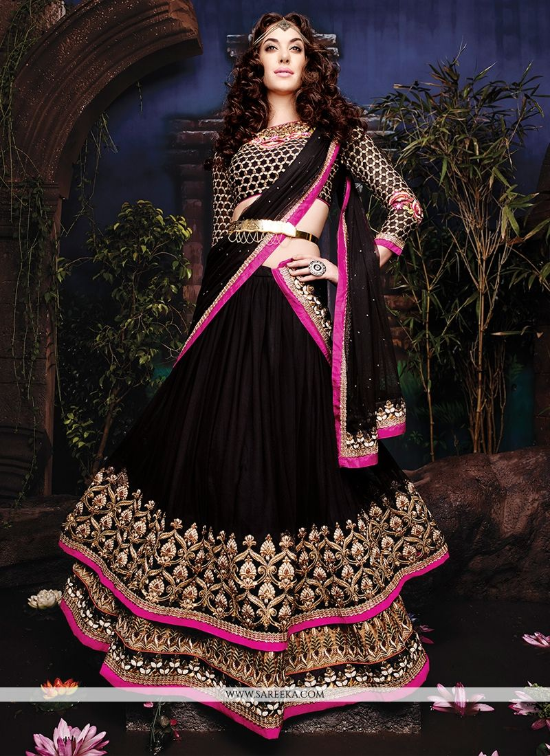 3880a0f82b Latest black net designer lehenga choli with resham, zari, patch border and embroidery  work. With matching raw silk blouse.(Slight veriation in color is ...