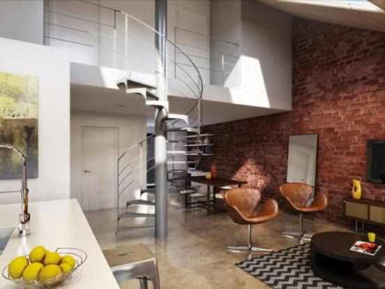 Exposed Brick Wall Spiral Staircase Warehouse