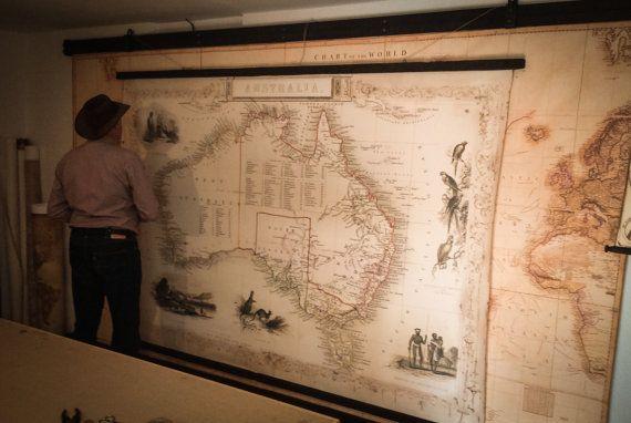 Giant Map Of Australia.Giant Map Australia Old Chart Of Australia Readable Details Huge