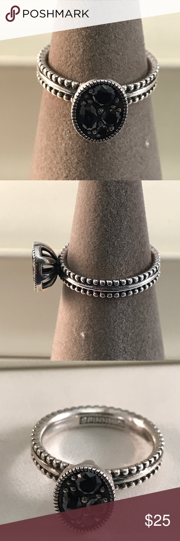Spinning Brand Stack Ring Authentic Spinning Brand With black spinel set in sterling silver. Please see last photo for size. spinning Jewelry Rings