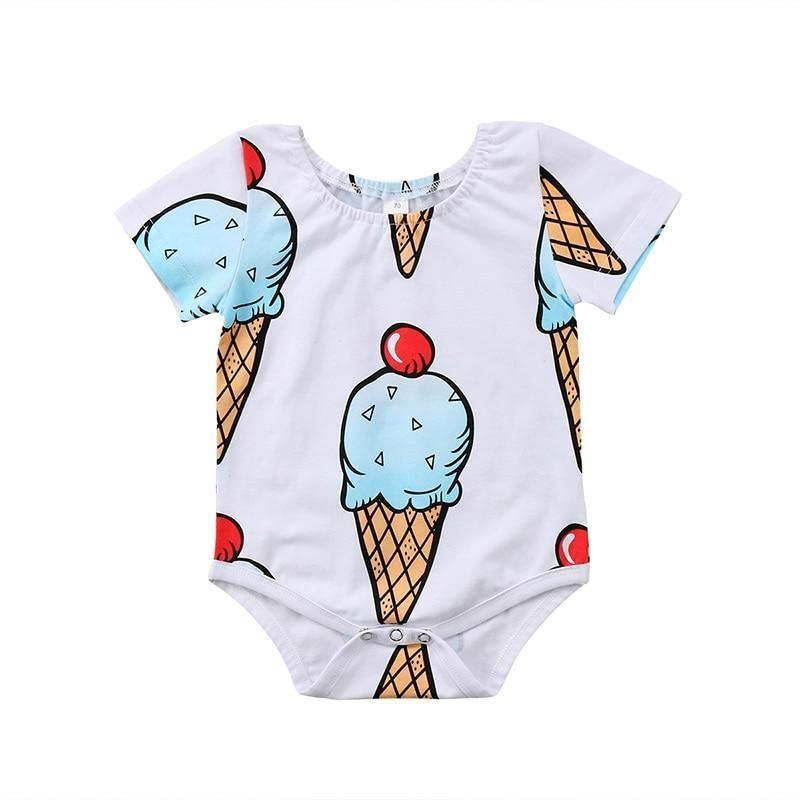 563e1f2a3 Cute Newborn Baby Boy Girl Summer Clothes Short Sleeve Ice Cream  Printdresskily