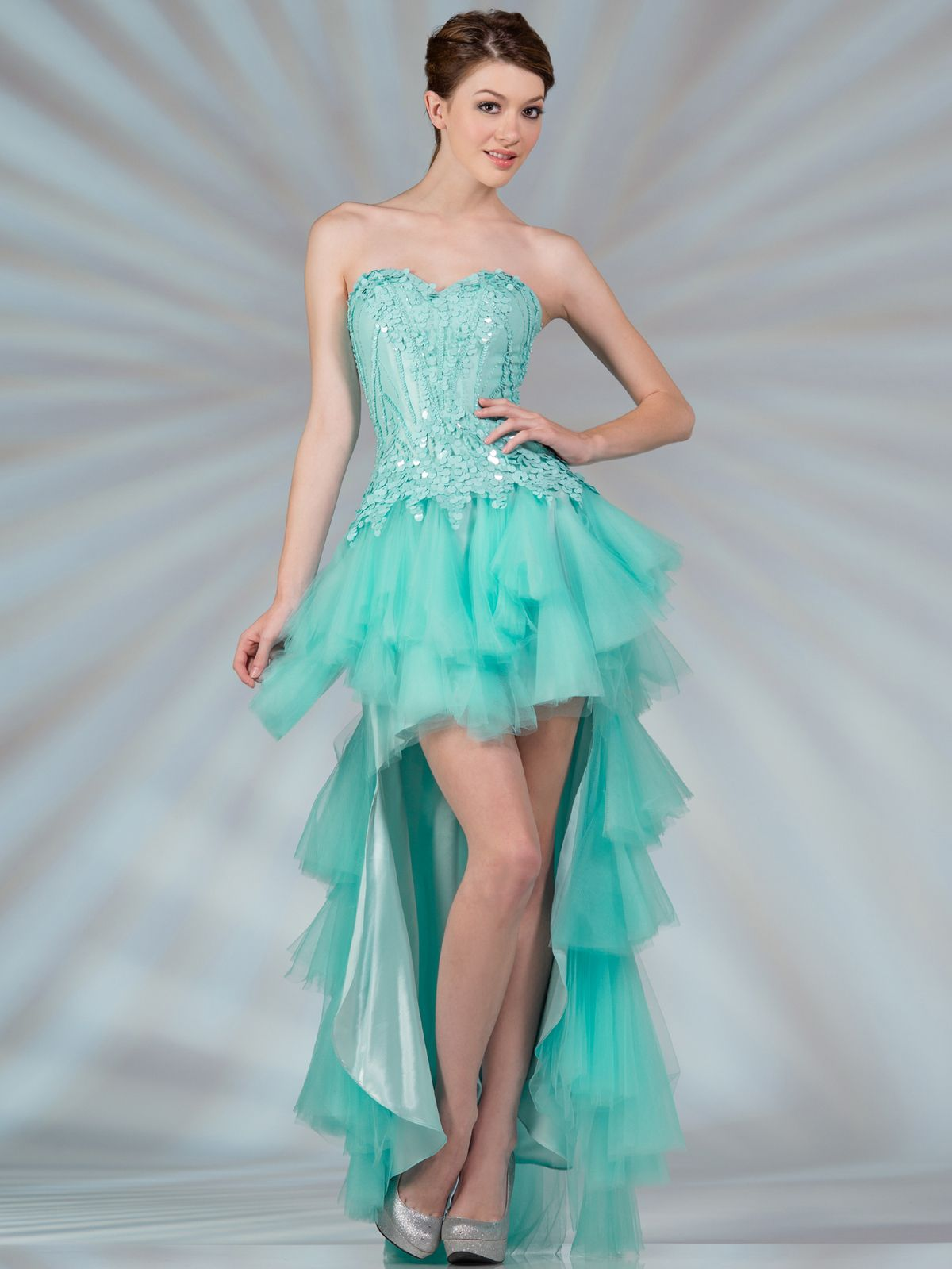 Layered Mesh High Low Prom Dress. Style #: JC2507. Get yours today at SungBoutiqueLA.com