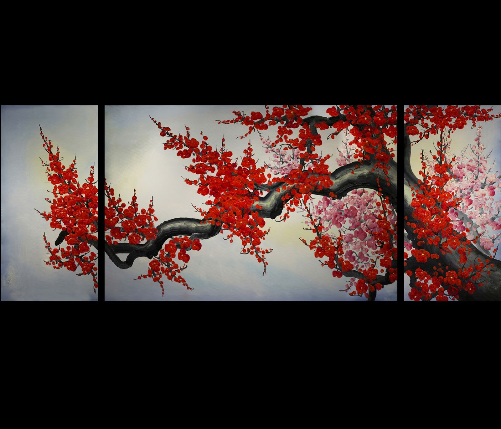 Modern wall art d cor japanese cherry blossom painting for Cherry blossom mural works