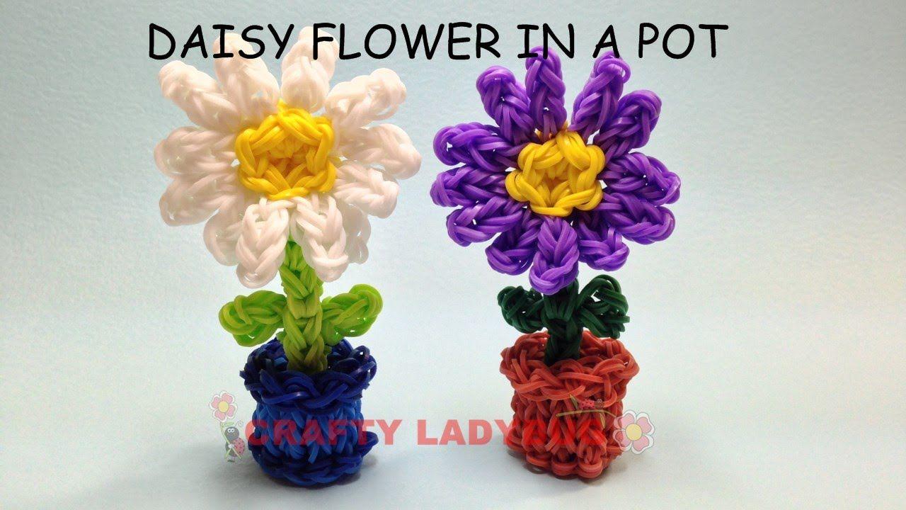 Rainbow Loom 3D DAISY FLOWER IN POT Adv Charm Tutorials by Crafty Ladybug.