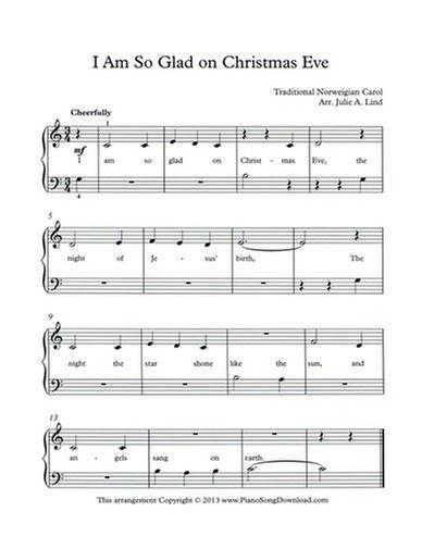 I Am So Glad On Christmas Eve Free Piano Music Christmas Piano