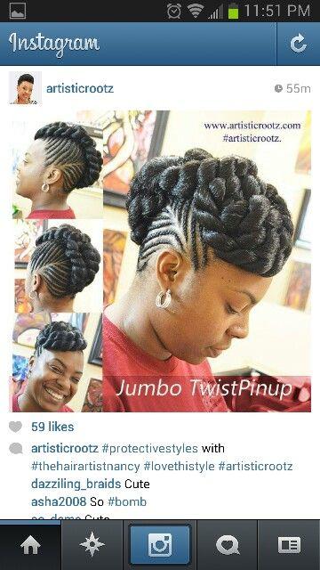Jumbo Twist Pinup W Cornrows Braided Ponytail Hairstyles Shot Hair Styles Cornrow Hairstyles
