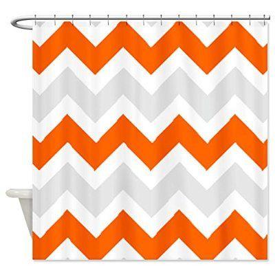 CafePress Orange Gray Chevron Shower Curtain   Standard White