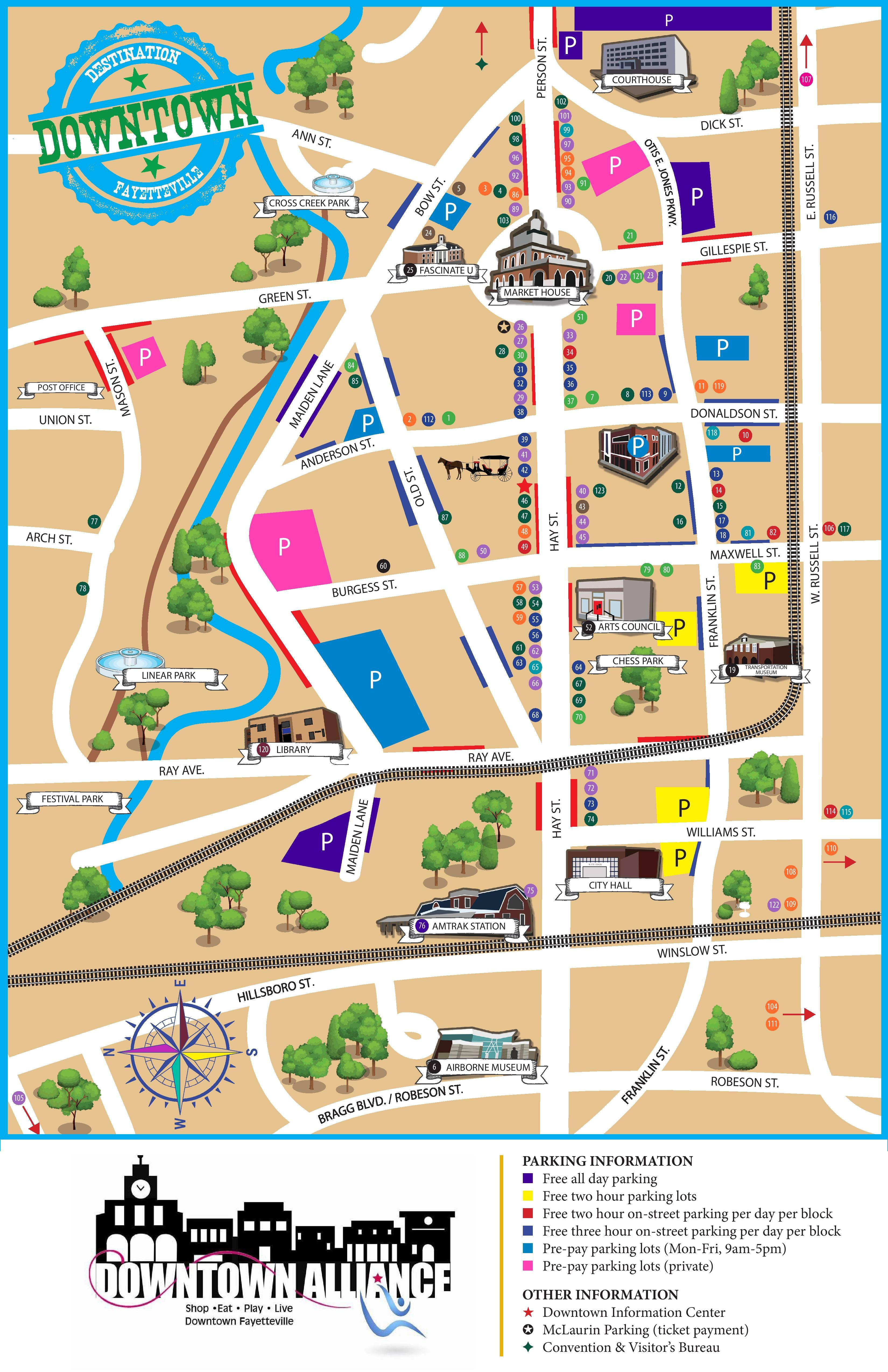 Modern map of downtown Fayetteville with current landmarks to help