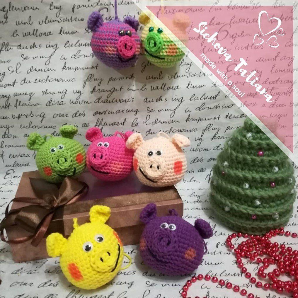 вязаные игрушки на елку свиношарики крючком схемыамигуруми