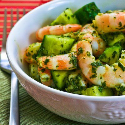Recipe for Spicy Shrimp and Cucumber Salad with Mint, Lemon, and Cumin