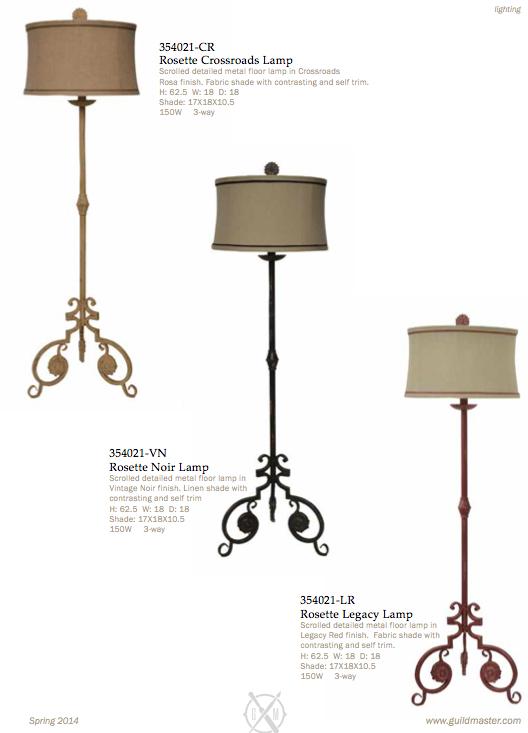 GuildMaster Scrolled Metal Floor Lamp in your choice of colors. www.codarus.com