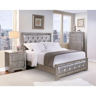 Celine 6-piece Mirrored and Upholstered Tufted King-size Bedroom ...