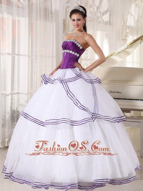 546f6b3506b Gorgeous White and Purple Quinceanera Dress Strapless Floor-length Organza  Appliques Ball Gown