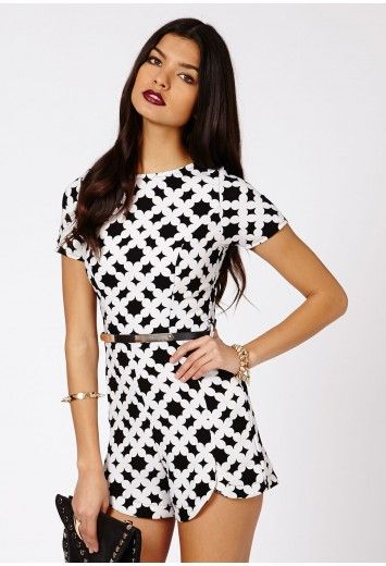 512ed8e50d0 Rute Monochrome Print Playsuit - Jumpsuits Playsuits - Clothing - Missguided