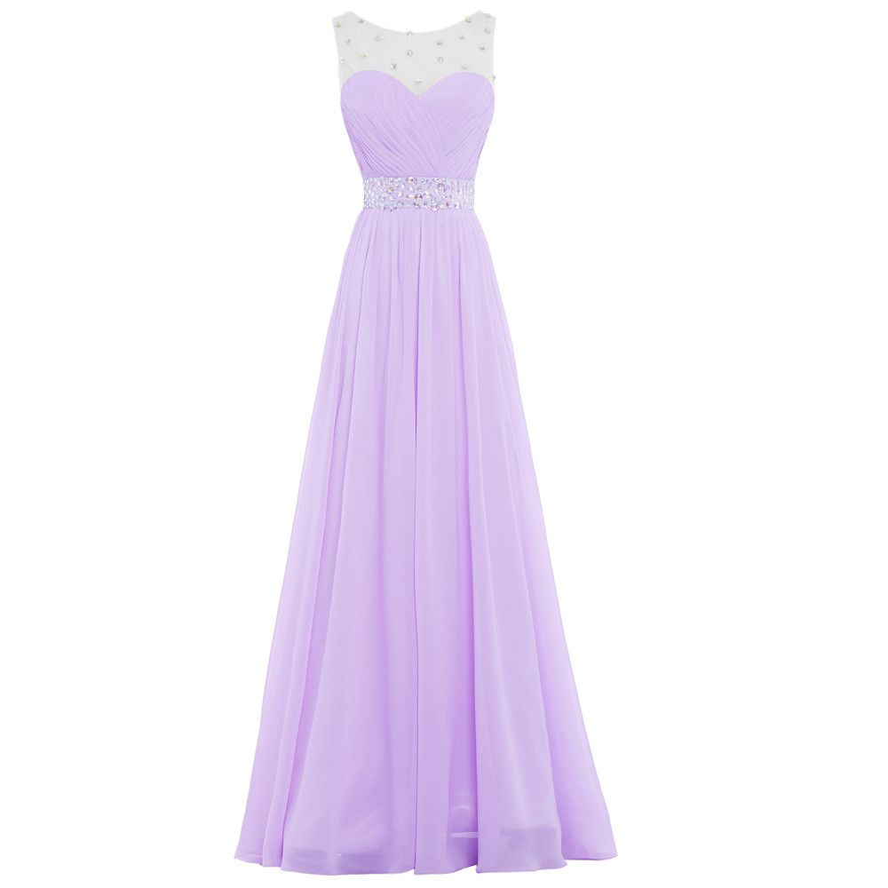 Bridesmaid dresses long adult party dress chiffon beaded lilac
