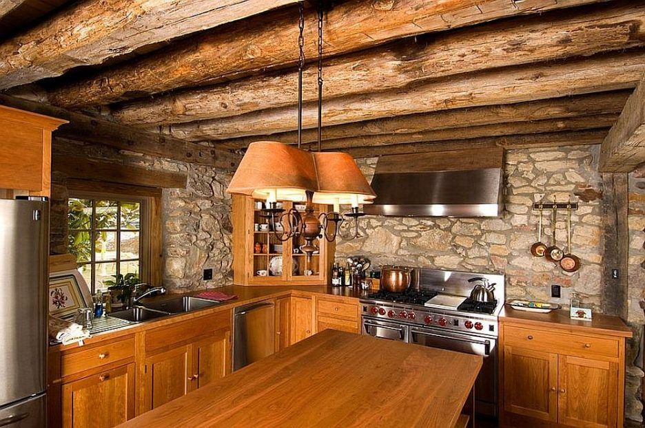 Pisgah Brown and Charcoal Stone accent wall for the small kitchen ...