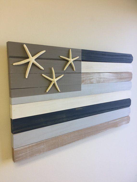Photo of Wood beach flag, nautical beach decor, beach house gift, coastal decor, wood beach sign rustic wood flag lake house sign coastal decorating