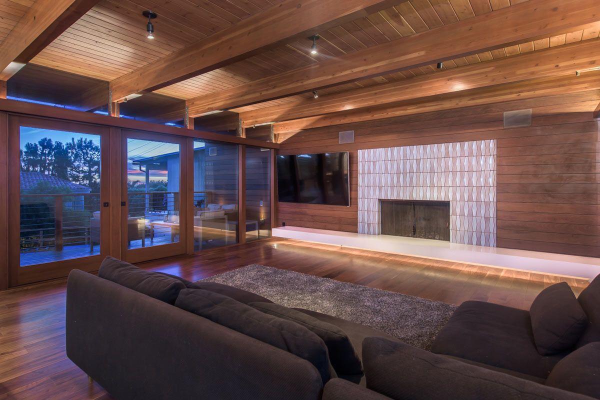 Mid-Century Modern Living Room, Heath Tile Fireplace Surround