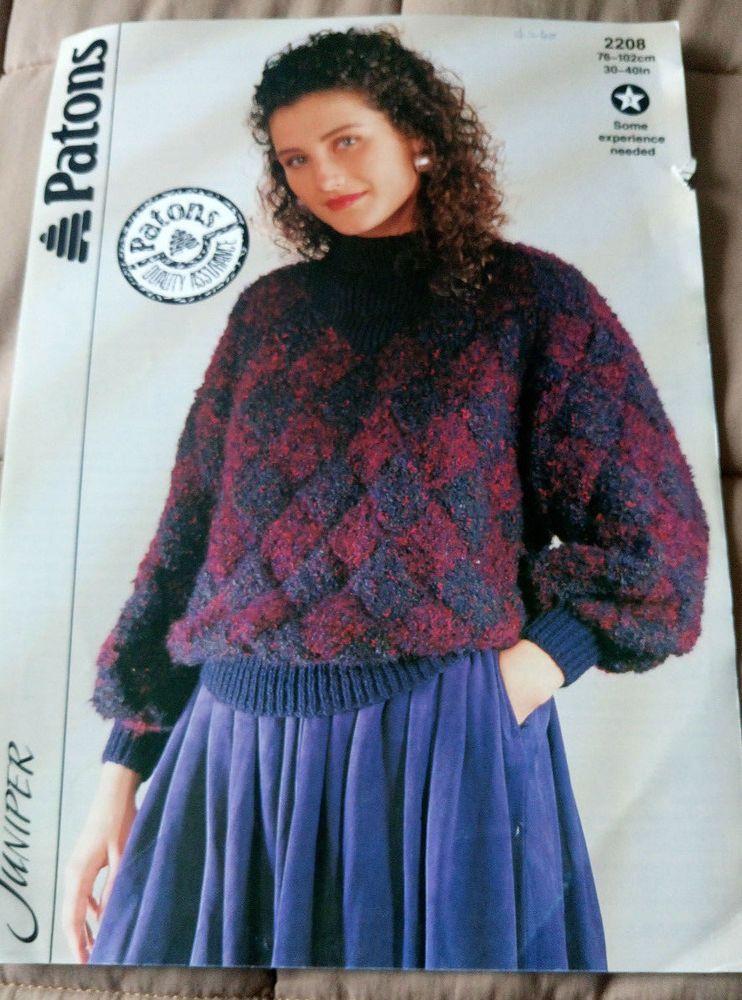 Women\'s Entrelac Sweater Patons 2208 knitting pattern chunky yarn