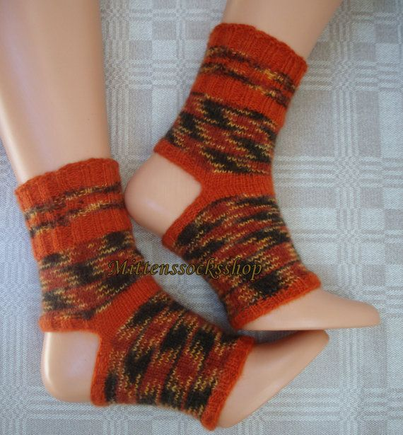 f1aa4703becb1 Hand Knitted Orange Black Yellow Yoga socks Angora Wool Women s Yoga Socks  Leg Warmers Feet Warmers Pedicure Socks Pilates Socks Dance Socks