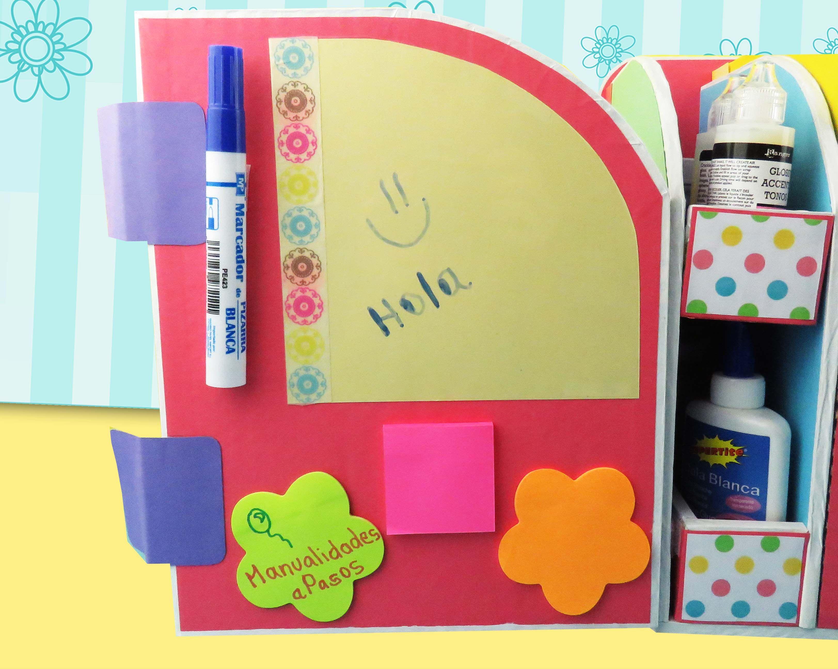Organizador de escritorio en cart n manualidades apasos - Organizador escritorio ...