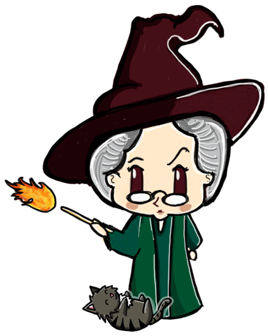 How to draw a cute chibi professor mcgonagall and cat from - Dessin de prof ...