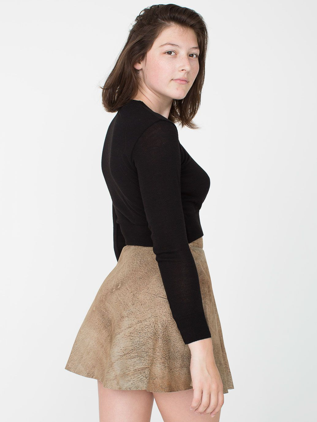 Distressed Lambskin Leather Circle Skirt | American Apparel