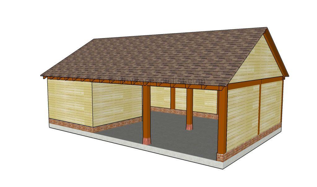 Carport with storage carport designs pinterest for Free wood carport plans
