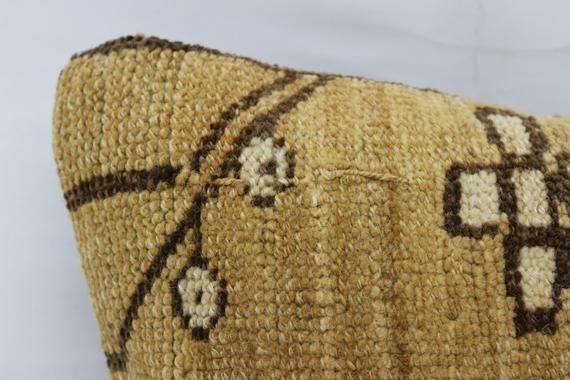 12x20 Turkey Rug Pillow, Antique Pillow, Neck Throw Pillow, Cushion Cover, Indoor Pillow, Beige Pill