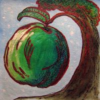 Meatless meals food painting of baked apples by Fiona Morgan