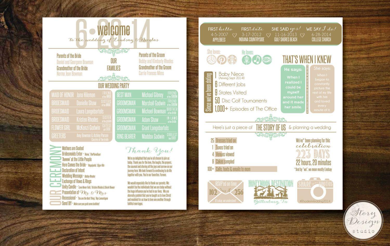 custom infographic wedding program printable by storydesignstudio