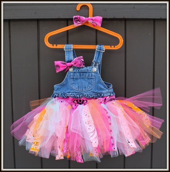 Overalls Tutu Dress - Strips of tulle and bandana on a set of ...
