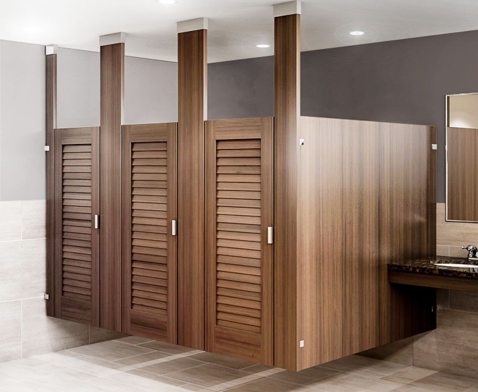 Ironwood Manufacturing Louvered Toilet Partition Door Bathroom - Wooden bathroom stall doors