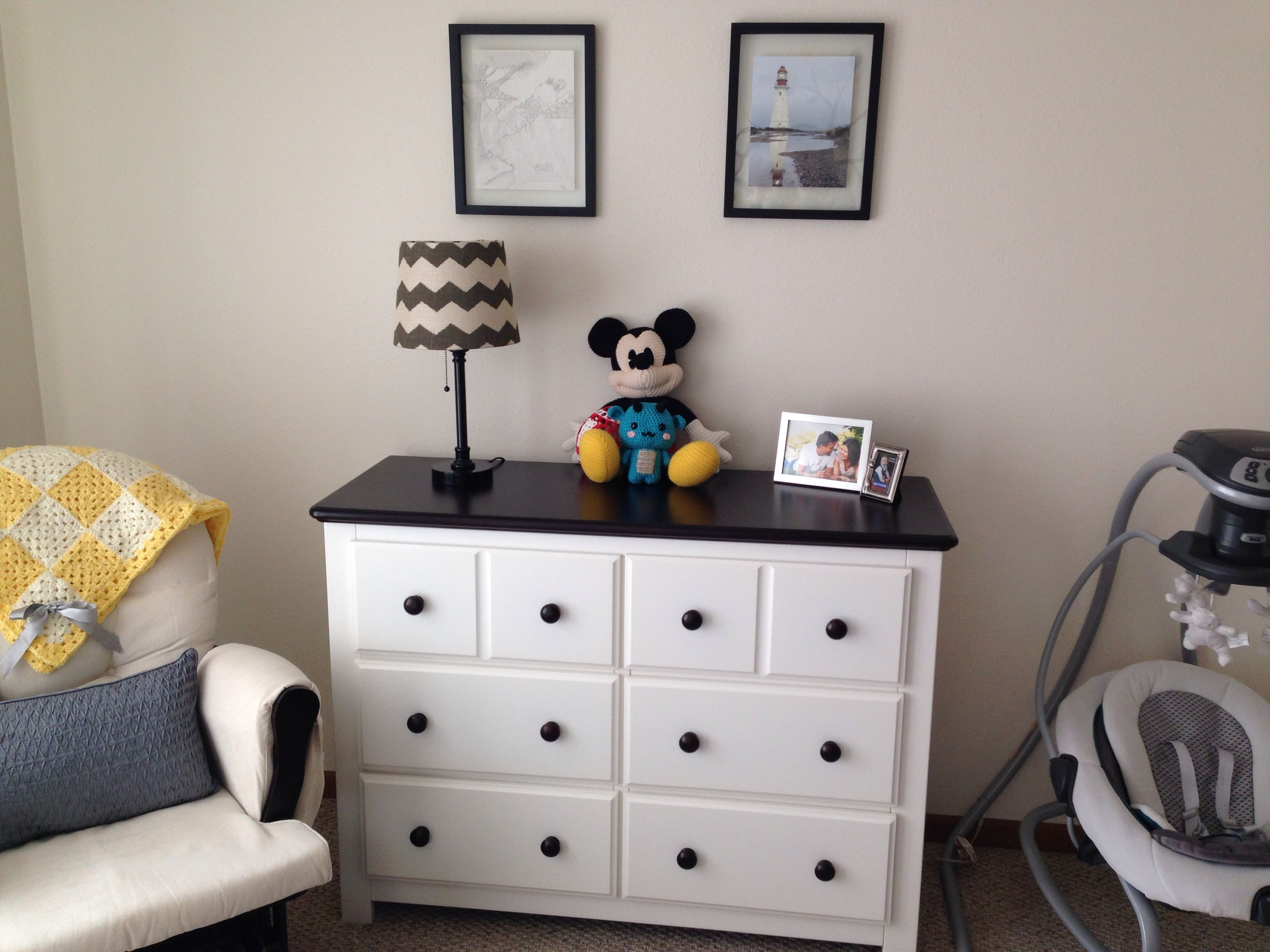 Yellow And Grey Nursery Glider And Ottoman From Burlington Coat Factory Dresser From Babies R Dresser As Nightstand Glider And Ottoman Mickey Mouse Bed Set
