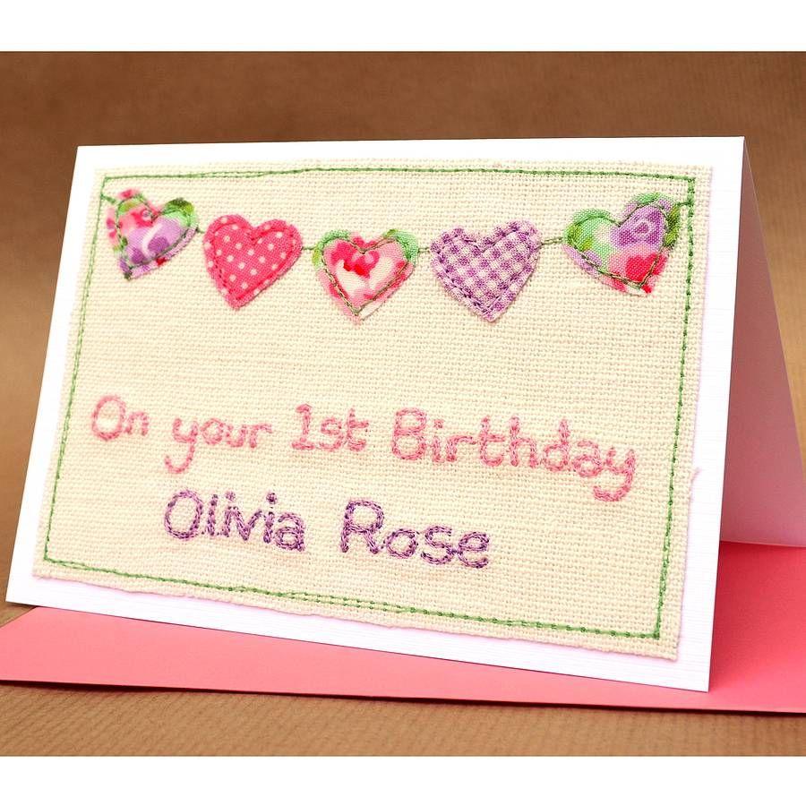 Girls 1st Birthday Handmade Card First birthday cards