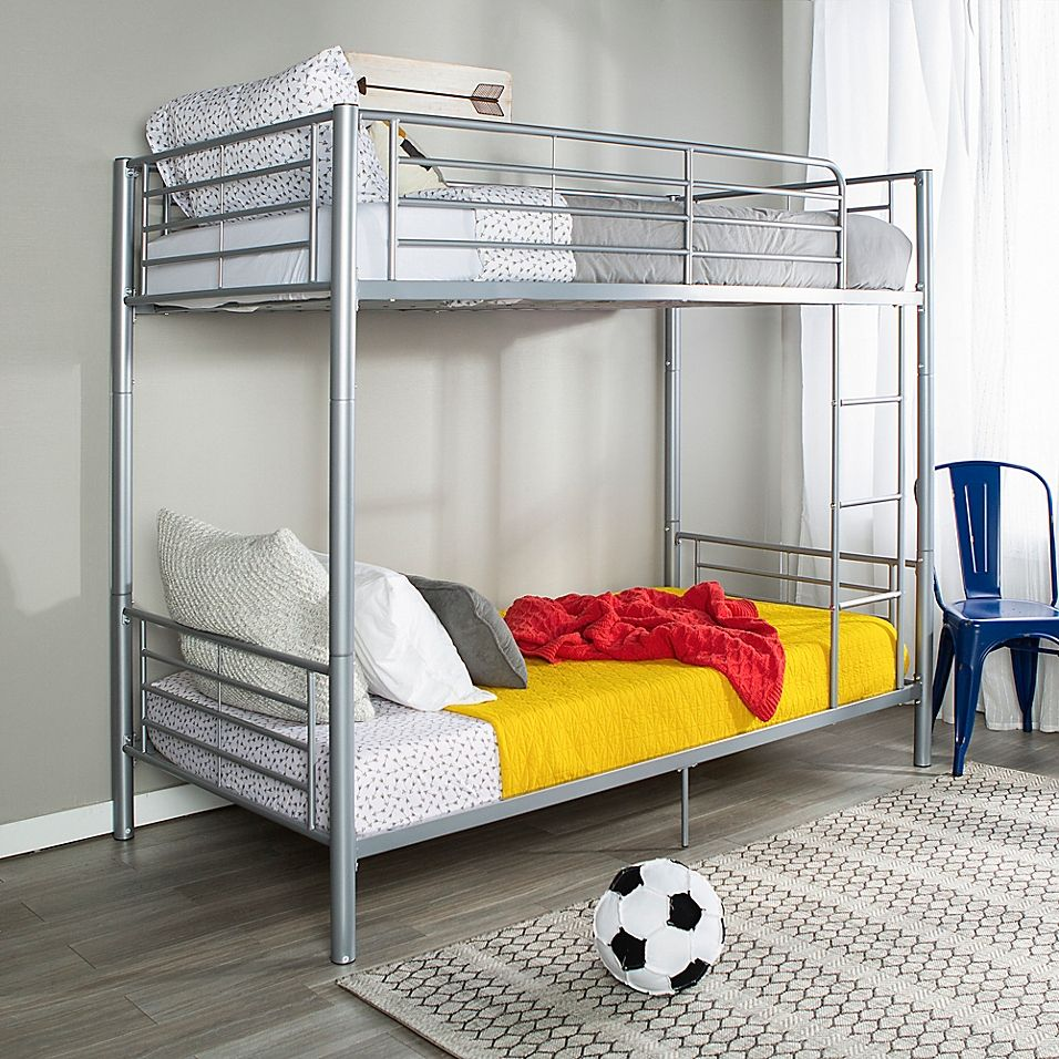 Forest Gate Riley Twin Metal Bunk Bed In Silver With Images