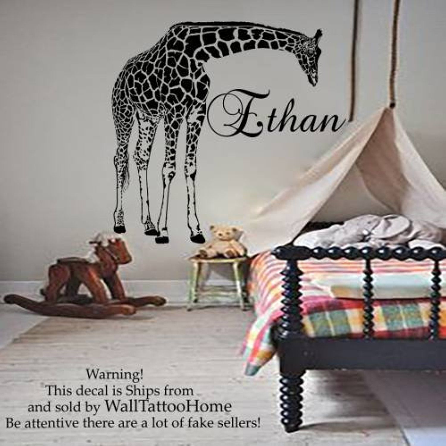 Home interior names name wall stickers decals giraffe decal vinyl for boy nursery