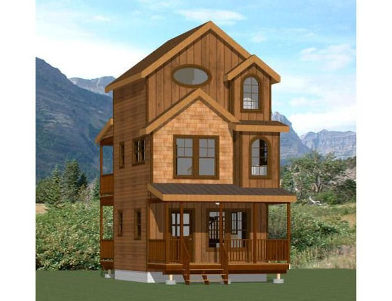 16x16 House 2 Bedroom 2 5 Bath 697 Sq Ft Pdf Floor Plan Instant Download Model 20a Tiny House 2 Bedroom Shed Homes Building A Shed