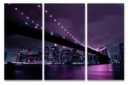 Aubergine Brooklyn Bridge Triptych New York canvas prints, 3 piece  cityscape triptych print on canvas