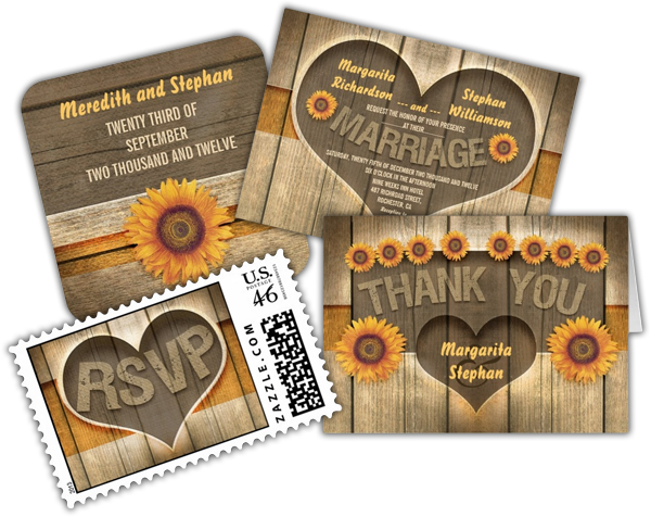 Wood and sunflowers heart rustic wedding invitation save the dates wood and sunflowers heart rustic wedding invitation filmwisefo